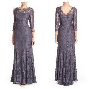 Adrianna Papell Gunmetal Grey Illusion Lace Gown 6
